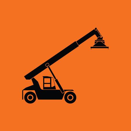 Port loader icon. Orange background with black. Vector illustration. Illustration