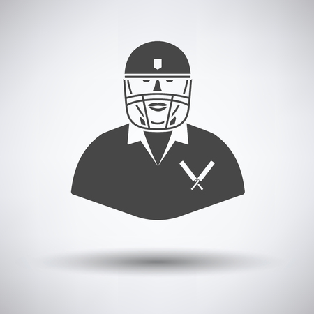 Cricket player icon on gray background, round shadow. Vector illustration.