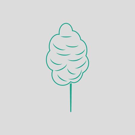 Zuckerwatteikone. Grauer Hintergrund mit grünem. Vektor-Illustration.