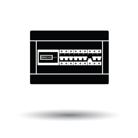 Circuit breakers box icon. White background with shadow design. Vector illustration.