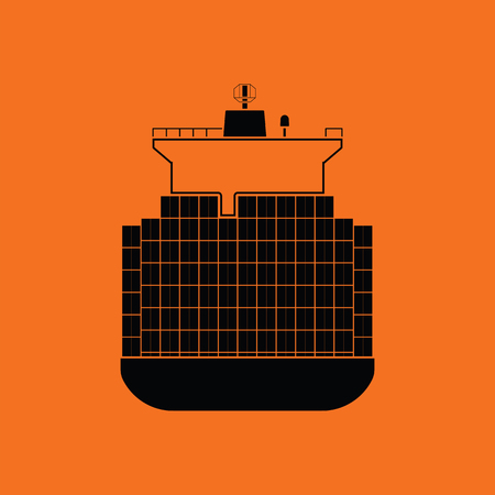 bulk carrier: Container ship icon. Orange background with black. Vector illustration.