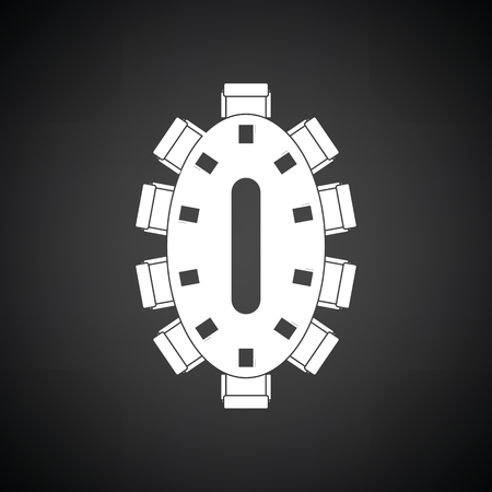 briefing: Negotiating table icon. Black background with white. Vector illustration.