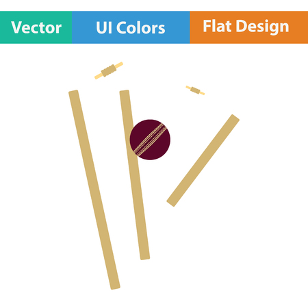 grounds: Cricket wicket icon. Flat design. Vector illustration. Illustration