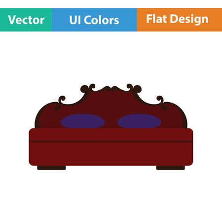 kingsize: King-size bed icon. Flat design. Vector illustration.