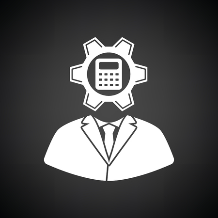 Analyst with gear hed and calculator inside icon. Black background with white. Vector illustration.