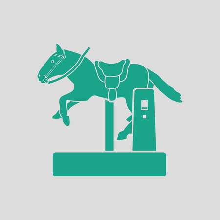 Horse machine icon. Gray background with green. Vector illustration.