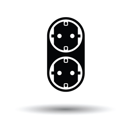 AC splitter icon. White background with shadow design. Vector illustration.