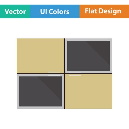Wall cabinet icon. Flat design. Vector illustration. Illustration