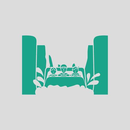 Waterbootrit icoon. Grijze achtergrond met groen. Vector illustratie. Stockfoto - 75342498