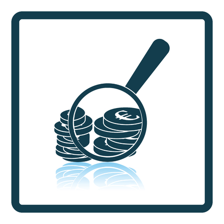 Magnifying over coins stack icon. Shadow reflection design. Vector illustration. Illustration