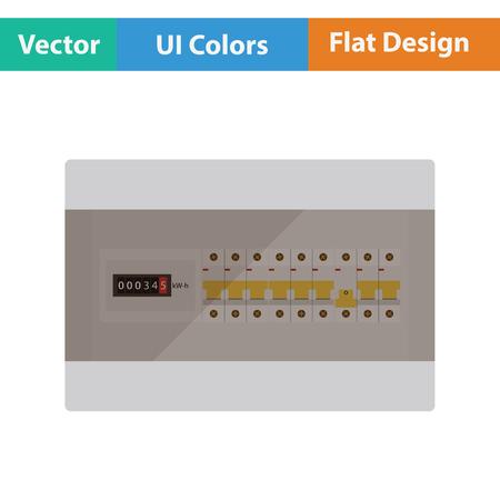 Circuit breakers box icon. Flat design. Vector illustration.