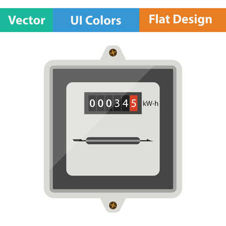 Electric meter icon. Flat design. Vector illustration.