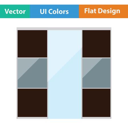 lifestyle home: Wardrobe closet icon. Flat design. Vector illustration.