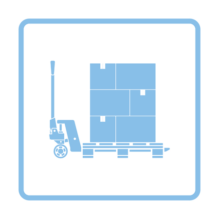 lift trucks: Hand hydraulic pallet truc with boxes icon. Blue frame design. Vector illustration.
