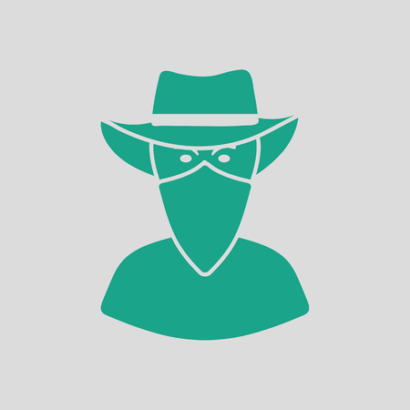 Cowboy with a scarf on face icon. Gray background with green. Vector illustration.