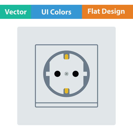 Europe electrical socket icon. Flat design. Vector illustration.