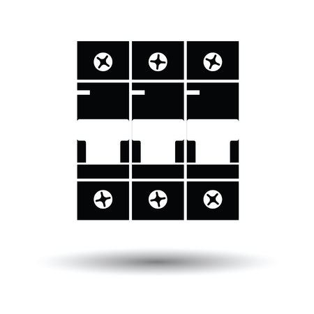breaker: Circuit breaker icon. White background with shadow design. Vector illustration.