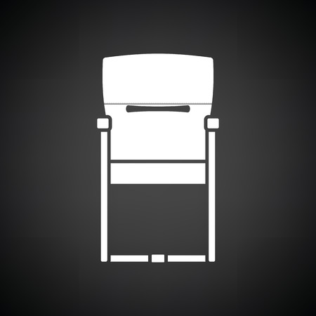 modern living room: Guest office chair icon. Black background with white. Vector illustration. Illustration