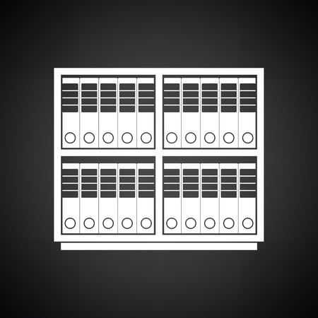 furniture store: Office cabinet with folders icon. Black background with white. Vector illustration. Illustration