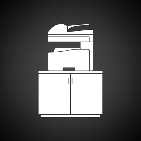 Copying machine icon. Black background with white. Vector illustration.