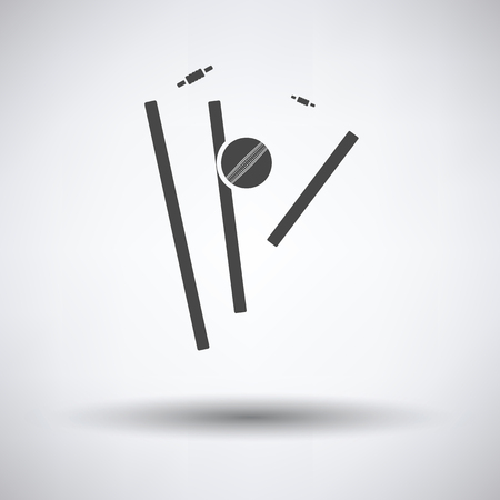 bails: Cricket wicket icon on gray background, round shadow. Vector illustration. Illustration