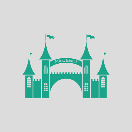 outdoor event: Amusement park entrance icon. Gray background with green. Vector illustration.