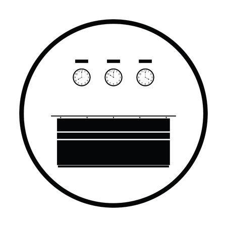 hotel rooms: Office reception desk icon. Thin circle design. Vector illustration. Illustration