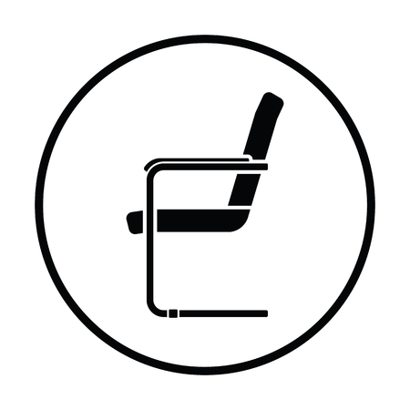 kitchen furniture: Guest office chair icon. Thin circle design. Vector illustration.