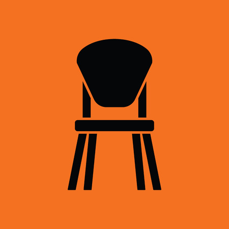 stool: Child chair icon. Orange background with black. Vector illustration.