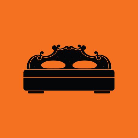 kingsize: King-size bed icon. Orange background with black. Vector illustration.
