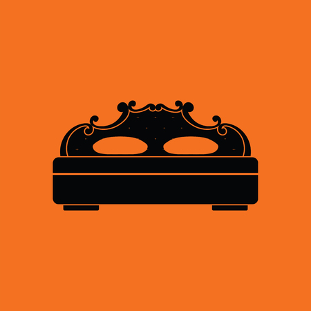 King-size bed icon. Orange background with black. Vector illustration.