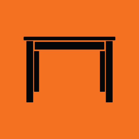 domestic room: Dinner table icon. Orange background with black. Vector illustration.