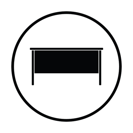 office furniture: Office table icon. Thin circle design. Vector illustration.