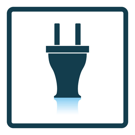 wire: Electrical plug icon. Shadow reflection design. Vector illustration.