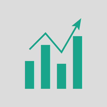 Analytics chart icon. Gray background with green. Vector illustration.
