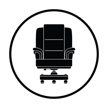 office furniture: Boss armchair icon. Thin circle design. Vector illustration.
