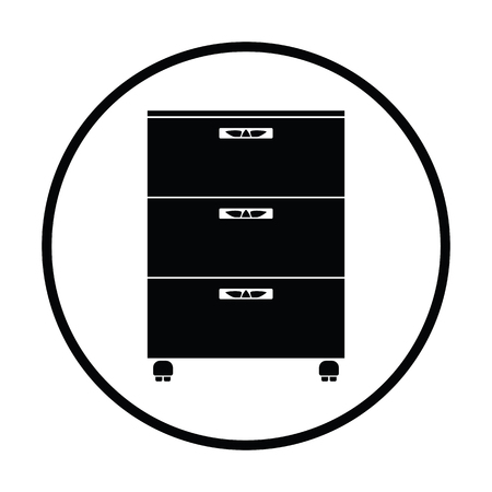 office furniture: Office cabinet icon. Thin circle design. Vector illustration.