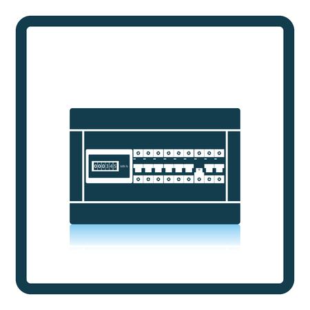 Circuit breakers box icon. Shadow reflection design. Vector illustration. Çizim
