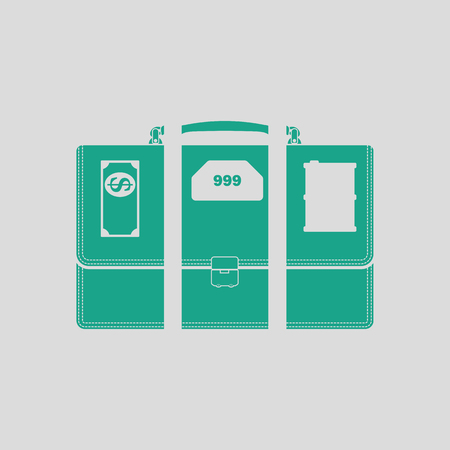 scale icon: Oil, dollar and gold dividing briefcase concept icon. Gray background with green. Vector illustration.