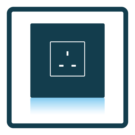 wire: Great Britain electrical socket icon. Shadow reflection design. Vector illustration.