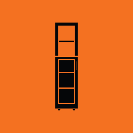 office furniture: Narrow cabinet icon. Orange background with black. Vector illustration.