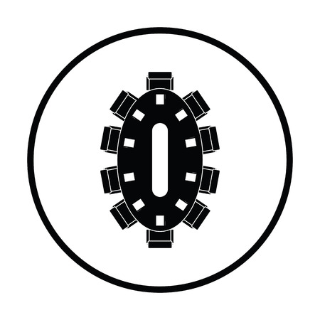the requirement: Negotiating table icon. Thin circle design. Vector illustration.