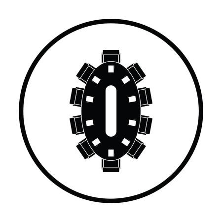 Negotiating table icon. Thin circle design. Vector illustration.