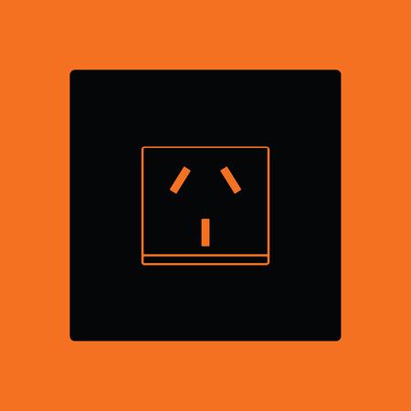 China electrical socket icon. Orange background with black. Vector illustration.
