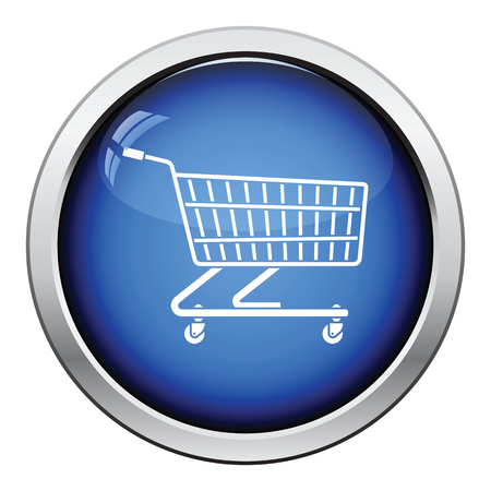 Supermarket shopping cart icon. Glossy button design. Vector illustration. Illustration