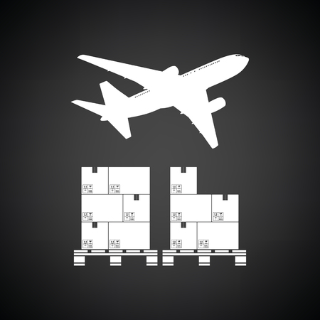 white boxes: Boxes on pallet under airplane. Black background with white. Vector illustration. Illustration