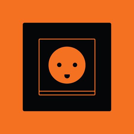 Austria electrical socket icon. Orange background with black. Vector illustration.