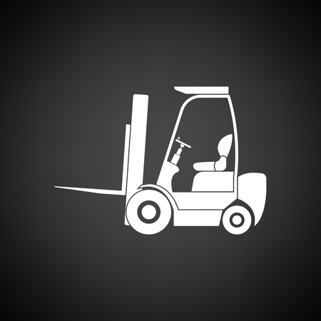 man profile: Warehouse forklift icon. Black background with white. Vector illustration.