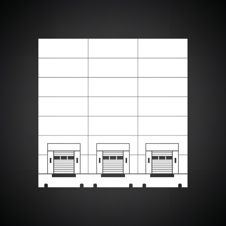 loading bay: Warehouse logistic concept icon. Black background with white. Vector illustration.