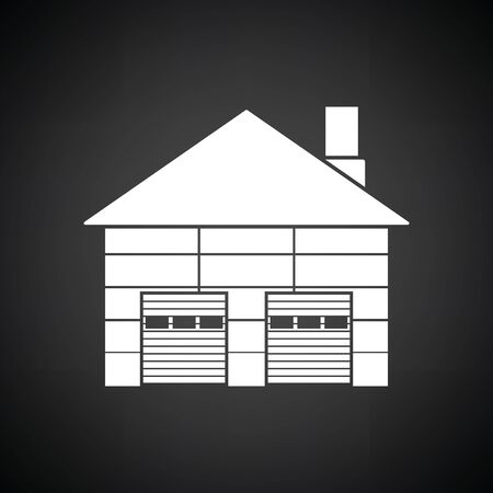 transportation facilities: Warehouse logistic concept icon. Black background with white. Vector illustration.
